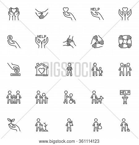 Volunteering Line Icons Set. Volunteer Assistant Linear Style Symbols Collection, Outline Signs Pack