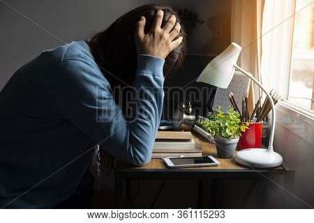 Stressed Businesswoman Frustrated And Upset In Business Pressure And Overworked At Home Office.adult