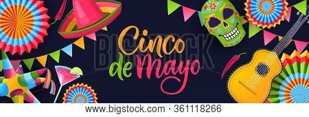 Cinco De Mayo Fiesta Black Background. Poster Or Greeting Gift Card With Calligraphy Lettering And M