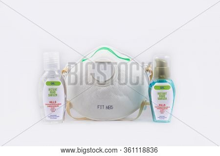 Alcohol Gel And Surgical Mask On White Background For Anti Virus And Bacteria, Alcohol Gel To Make H