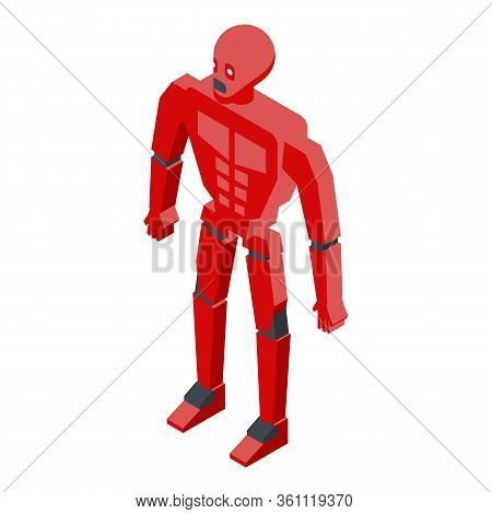 Red Cyborg Humanoid Icon. Isometric Of Red Cyborg Humanoid Vector Icon For Web Design Isolated On Wh