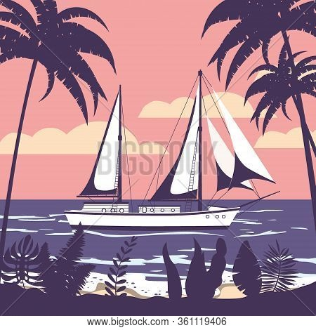 Sailing Ship Banner Retro Vintage Tropical Flora Palm Silhouettes. Nautical Ocean Sailing Yacht Or T