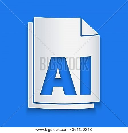 Paper Cut Ai File Document. Download Ai Button Icon Isolated On Blue Background. Ai File Symbol. Pap