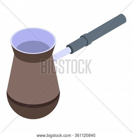 Turkish Coffee Pot Icon. Isometric Of Turkish Coffee Pot Vector Icon For Web Design Isolated On Whit