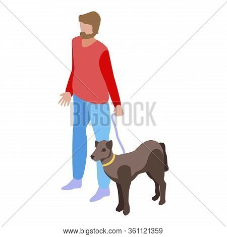 Dog Helps A Blind Person Icon. Isometric Of Dog Helps A Blind Person Vector Icon For Web Design Isol