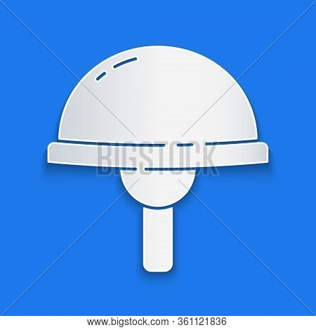 Paper Cut Light Emitting Diode Icon Isolated On Blue Background. Semiconductor Diode Electrical Comp