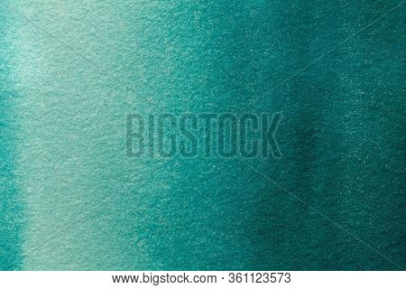 Abstract Art Background Light Turquoise And Green Colors. Watercolor Painting On Canvas With Soft Em