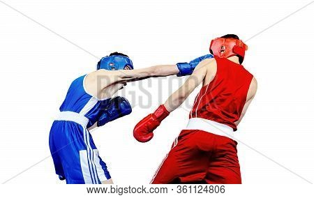 Boxer Lands Right Jab To Opponent In Boxing Match. Isolated On White Background