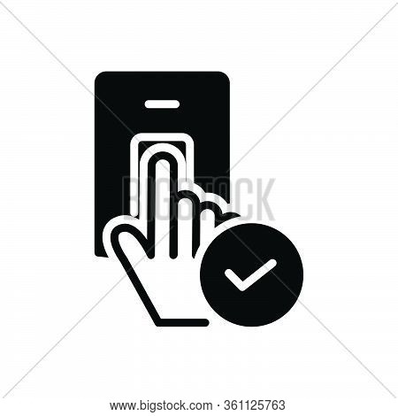Black Solid Icon For Accepted Granted Recognized Permeable Biometric