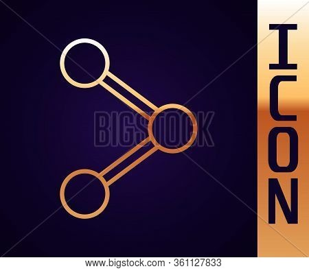 Gold Line Share Icon Isolated On Black Background. Share, Sharing, Communication Pictogram, Social M