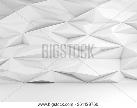 Abstract Empty White Interior, Cg Background With Triangular Mosaic Pattern On The Wall, 3d Renderin