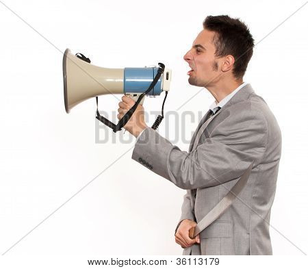 Businessman With Megaphone And Machete