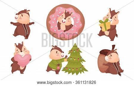 Fluffy Chipmunk Carrying Gift Box And Decorating Christmas Tree Vector Set