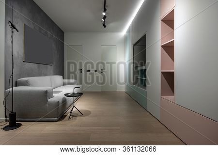 Interior Of Illuminated Modern Flat With Different Walls