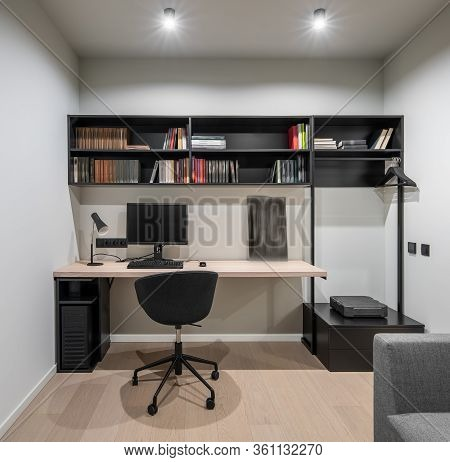 Interior Of Illuminated Modern Flat With Light Walls