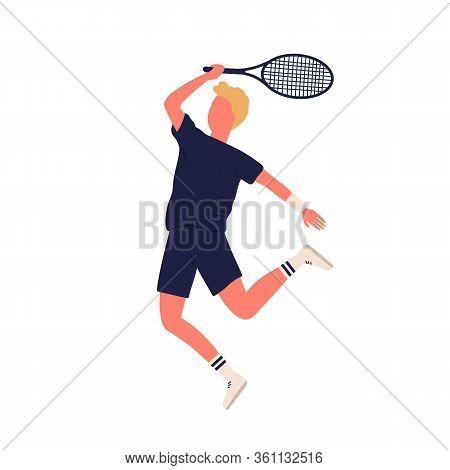 Cartoon Sportsman Smash Racket Playing Big Tennis Isolated On White Background. Active Male Enjoying