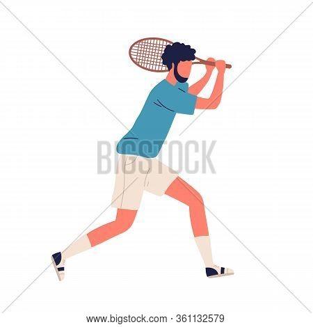 Cartoon Bearded Male Professional Big Tennis Player Backhand Smash Hold Racket Vector Flat Illustrat