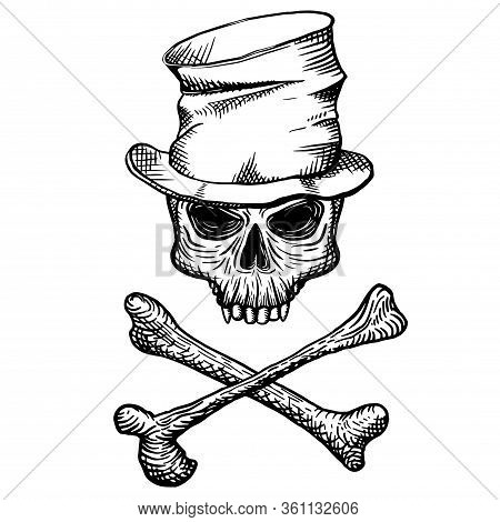 Hand Drawn Skull Of A Dead Man In A Crumpled Top Hat, With Crossbones, On A White Background. Vector