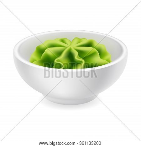 Wasabi Sauce In A Bowl. Realistic Japanese Sushi Condiment In Round Ceramic Ramekin. Vector Icon Iso