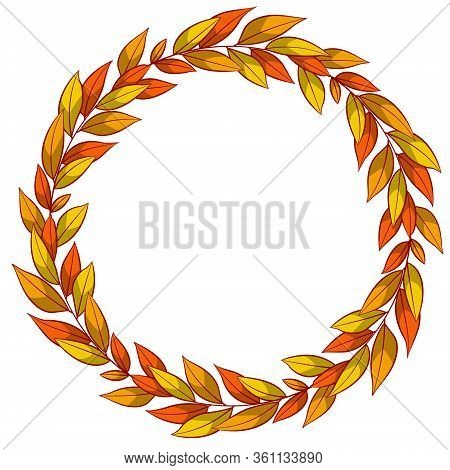 Autumn Floral Wreath; Round Foliate Frame For Greeting Cards, Invitations, Wedding Cards, Posters, B