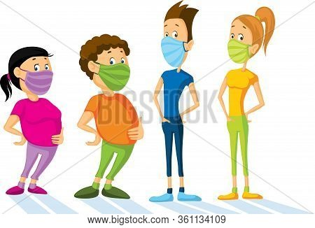 People With Respiratory Mask - Flat Design Vector Illustration