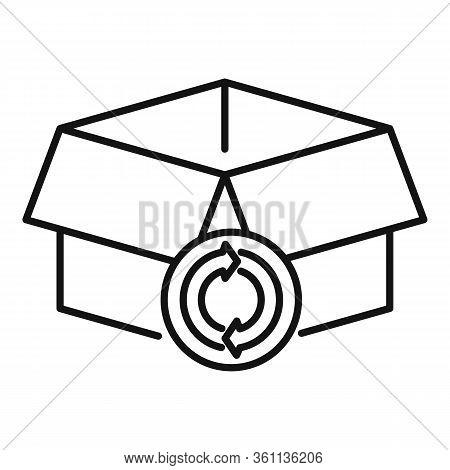 Carton Recycling Box Icon. Outline Carton Recycling Box Vector Icon For Web Design Isolated On White