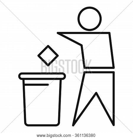 Man Throw Garbage Icon. Outline Man Throw Garbage Vector Icon For Web Design Isolated On White Backg