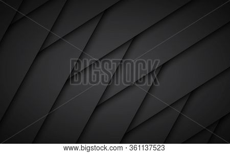 Dark Black Abstract Background With Textured Overlap Layers. Simple Illustration With Blank Space Fo