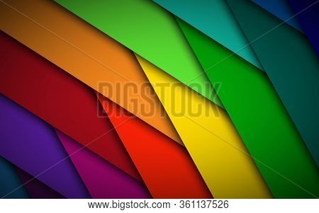 Abstract Colorful Background With Vibrant Overlap Layers. Modern Simple Illustration. Overlap Stripe