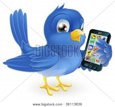 Illustration of a cute happy bluebird holding a mobile cell phone poster