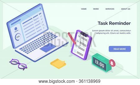 Task Reminder Or Todo List For Business Professional For Website Landing Homepage Template Banner Is