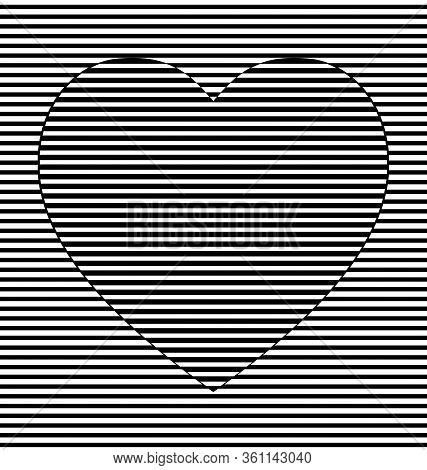 Vector Illustration Black And White Abstract Lines And Heart
