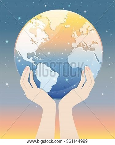 Two hands holding the transparent globe with starry sky look like meteor showers. A abstract astronomy background. Vector illustration.