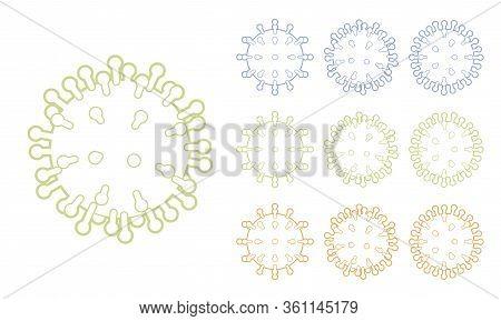Virus Structure Line Art, Human Coronavirus Spike Symbol Set. Infectious Disease With Severe Acute R