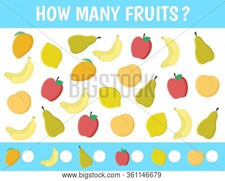 Game For Children: How Many. Counting Game With Fruit For Kids: Apples, Banana, Mango, Peach, Pear,
