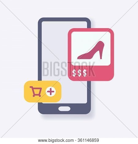 Ecommerce Shopping Cart Mobile Icon With Modern Isometric Style Vector