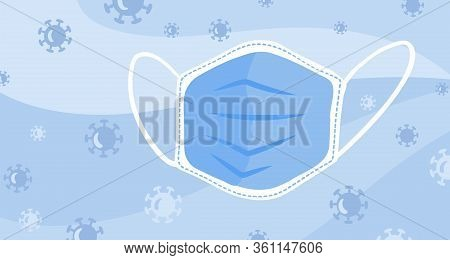 Vector Banner Cartoon Medical Mask On Blue Background With Virus. Respirator, Dust Mask. Surgical Pr