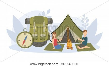 Couple Sitting Near Campfire And Roasting Marshmallow Over Campfire, Travelling Equipment, Huge Back