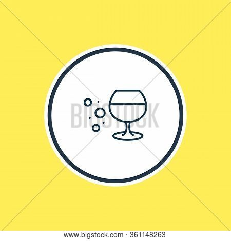 Vector Illustration Of Cognac Glass Icon Line. Beautiful Drink Element Also Can Be Used As Whisky Ic