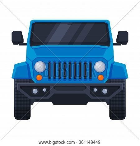 Front View Of Blue Off Road Truck, Suv Pickup, Jeep Car Flat Vector Illustration