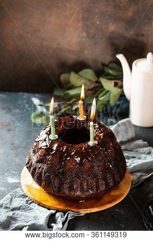 Chocolate Cake With Berries. Bundt Cake. Vegan Cake. Birthday Cake. Cake With Candles. Piece Of Cake