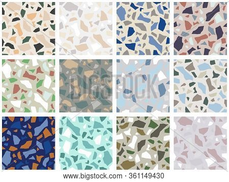 Set Of Granite Stone Terrazzo Floor Texture. Abstract Background, Seamless Pattern. Vector Illustrat