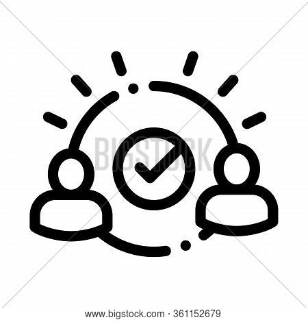 Two People Agreement Icon Vector. Two People Agreement Sign. Isolated Contour Symbol Illustration