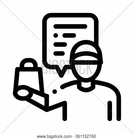 Takeaway Seller Icon Vector. Takeaway Seller Sign. Isolated Contour Symbol Illustration