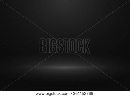 Black Gradient Studio Background. Design Of Backdrop For Presentation You Product. Horizontal Orient