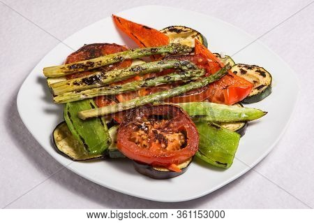 Grilled Vegetables With Slice Of Tomato, Paper, Asparagus, Eggplant, Delicious Vegan Meal That Fruga