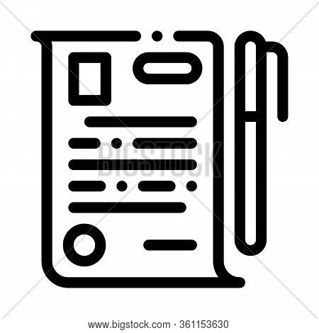 Signature Paper Icon Vector. Signature Paper Sign. Isolated Contour Symbol Illustration