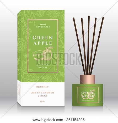 Green Apple Home Fragrance Sticks Abstract Vector Label Box Template. Hand Drawn Sketch Flowers, Lea