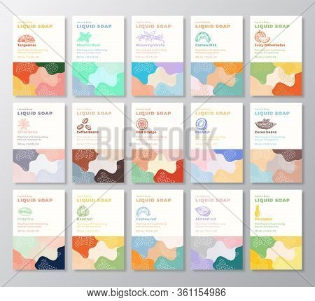 Liquid Soap Label Templates Collection. Abstract Shapes Camo Background Vector Covers Set. Cosmetics