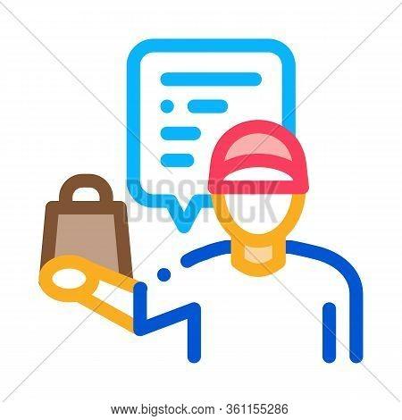Takeaway Seller Icon Vector. Takeaway Seller Sign. Color Symbol Illustration